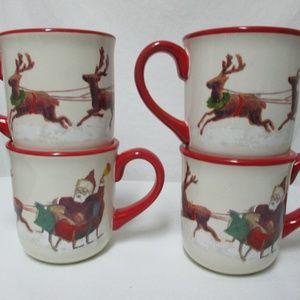 Williams Sonoma Santa & His Reindeer 2011 Set 4